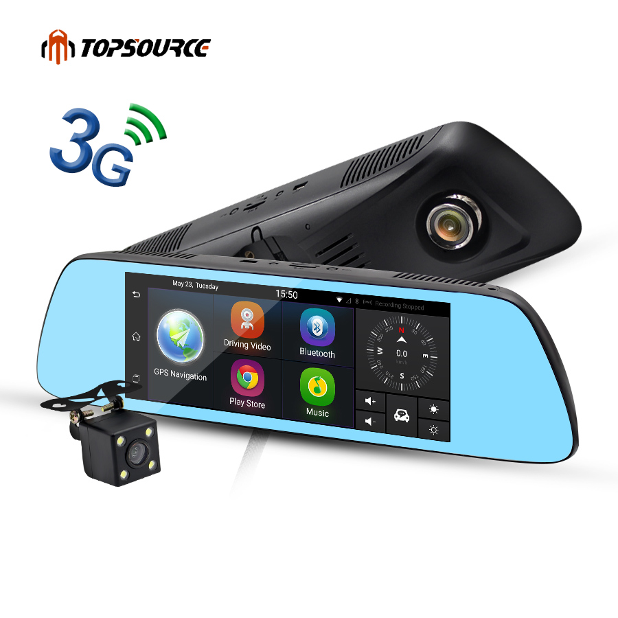 "TOPSOURCE New 7"" Special 3G Mirror Rearview Car DVR Camera DVRs Android 5.0 With GPS Navigation Automoblie Video Recorder(China (Mainland))"