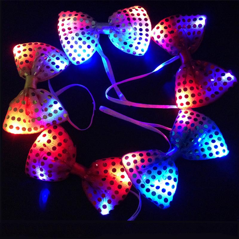 Fun Bowknot Bow Tie Night LED Light Wedding Decoration New Year Party Gift(China (Mainland))