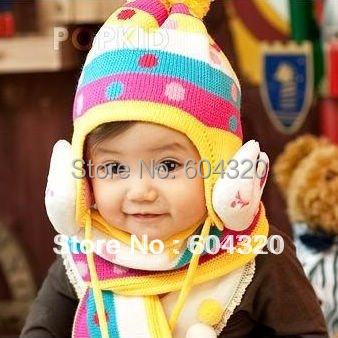 Rabbit beanie cute children baby winter hat and scarf set new arrive baby hat and scarves set baby costume #2C2508  5 set/lot