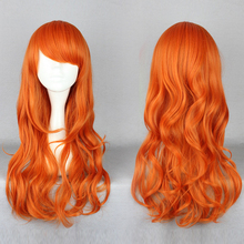 MCOSER One Piece after two years Nami Wig Long Curly Orange Synthetic Women Girls Wig 60cm(China (Mainland))
