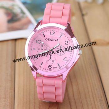 hot sell 2015 woman rhinestone geneva watch silicone quartz fashion lady dress rubber wristwatch big crystal discount watches