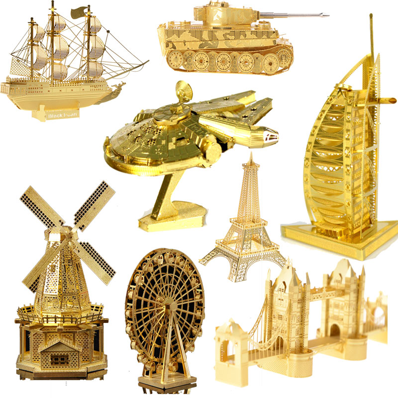 3D jigsaw puzzles for kid 2016 New Star wars Building architecture Gold color 3D Nano metal