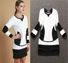 Active Dress Free Shipping 2014 Spring&Autumn Long Sleeve Women High Quality Black Patchwork White Hot Sale Dresses(China (Mainland))