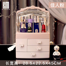 Cosmetic Storage Box Dust Desktop Dressing Table Skin Care Products Lipstick Rack Transparent Two-way Dust Cover with Tissue Box(China)