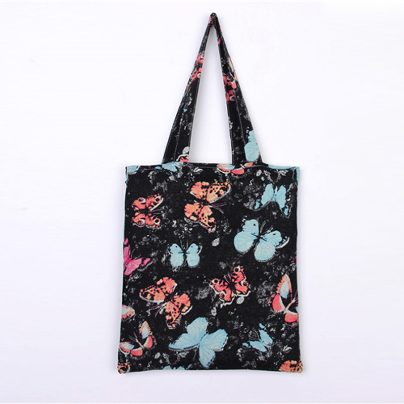 Cotton Shopping Tote Bag Recycle Eco Butterfly Beach Bag Animal Printed Black Blue Foldable Fabric Supermarket Shop Bags BS064(China (Mainland))