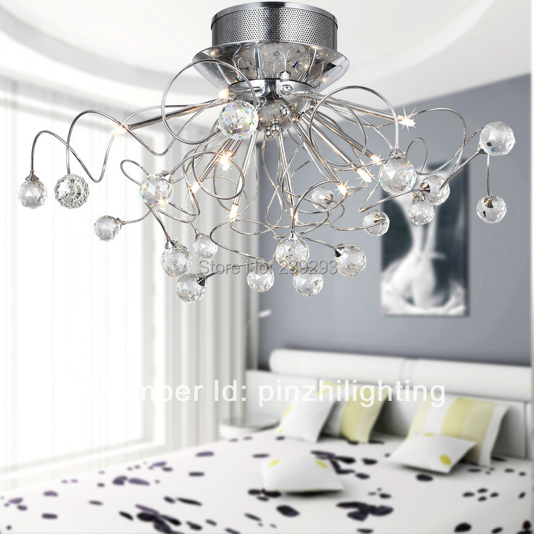 Free Shipping Flush Mount Comtemporary Crystal Ceiling Light Fixture For Living Room In 11