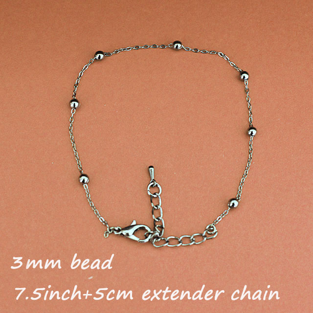 Fashion Gunmetal Black Tone 7.5inch Copper Metal 3MM Beads Jewelry Bracelets Links Chains With Lobster Clasp Extender End Drops<br><br>Aliexpress