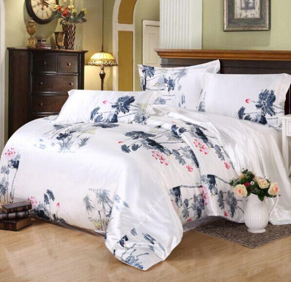 Home Textile silk bedding set duvet cover set silk bedding Chinese style elegant bed linen luxury silk bed set sheet wedding set(China (Mainland))