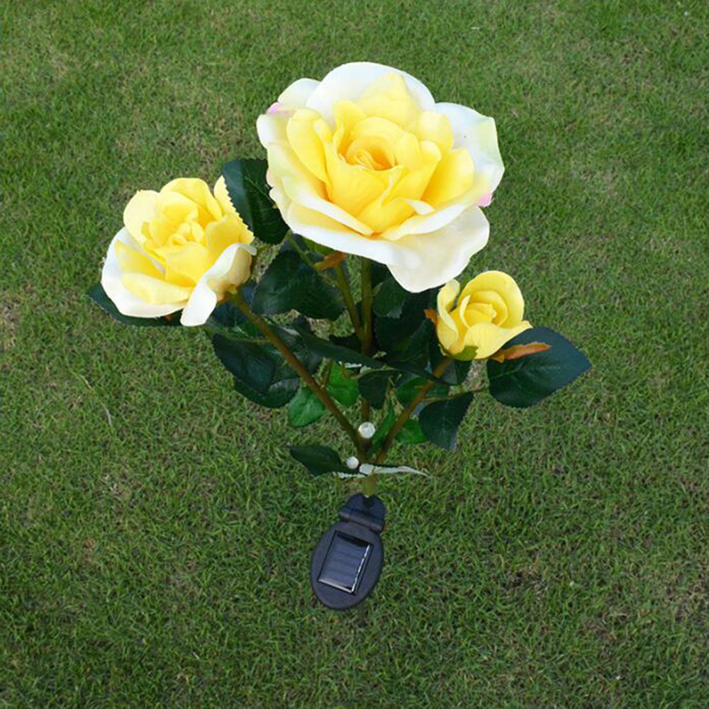 Tanbaby Yellow Color LED Rose Light Beautiful Solar power light Flower Garden Stake Outdoor Yard Decoration Lawn Landscape(China (Mainland))