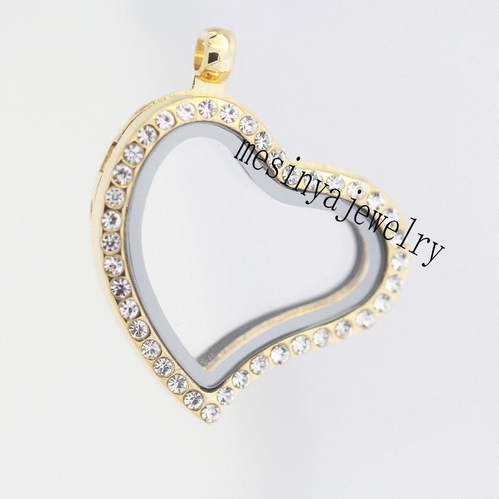 Lowest price  10pcs best quality PVD gold curved heart czech crystal crystal glass locket for floating charms<br><br>Aliexpress