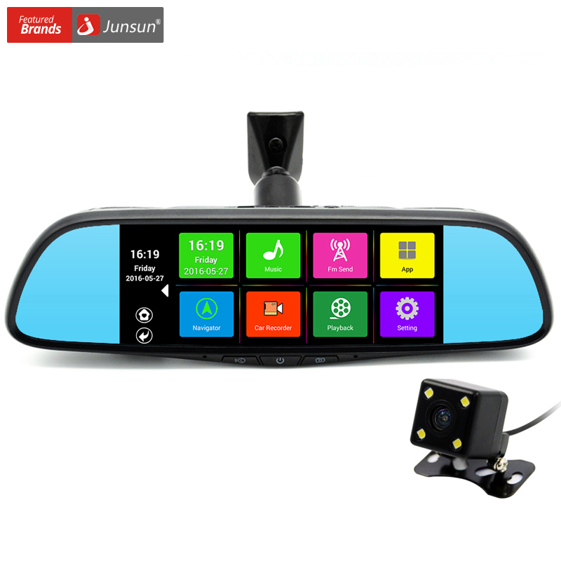 "Junsun 7"" Touch Special Car DVR Camera Mirror GPS Bluetooth 16GB Android 4.4 Dual Lens FHD 1080p Video Recorder Dash Cam(China (Mainland))"
