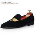 New Men Noble Embroidery Velvet Loafers Casual Fashion Slip on Smoking Shoes Men Flats Handmade Men