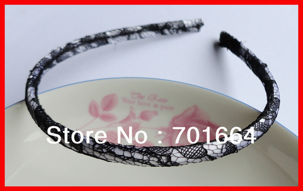 BARGAIN for BULK black lace see-through 7mm white fabric wrapped plain plastic hair headbands at free shipping(China (Mainland))