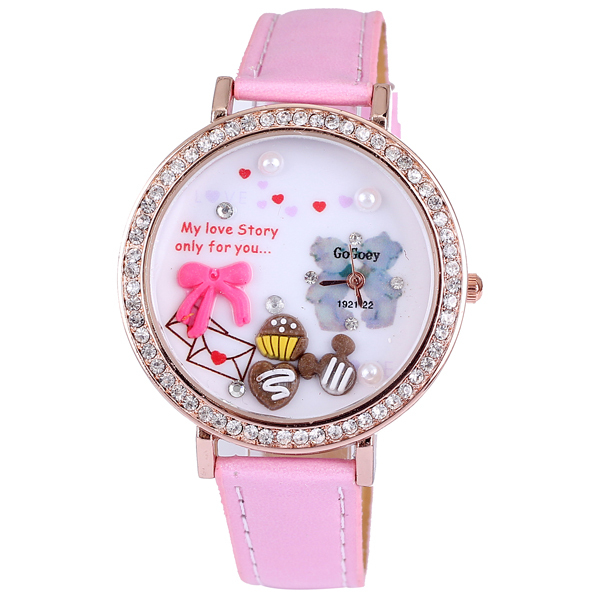 High quality Gogoey full diamond rond pink bowknot rose gold plated pu leather quartz big watches for women designer wholesale(China (Mainland))