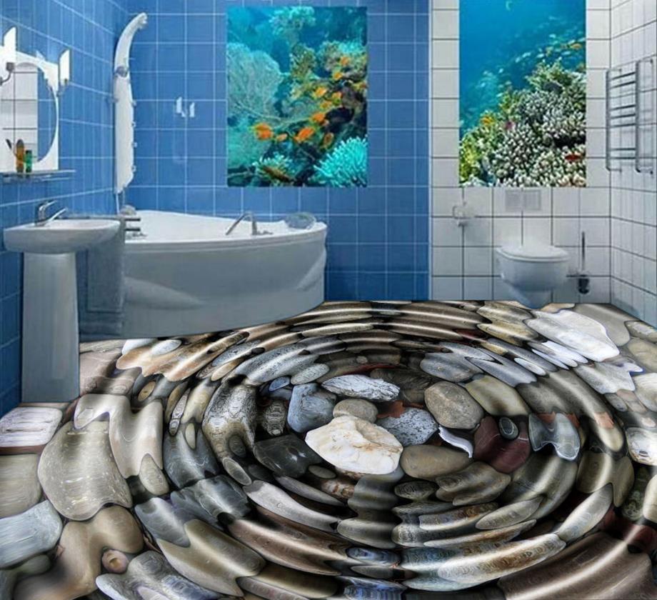 3D floor tiles for livingroom water pebbles black 3d floor murals vinyl flooring bathroom pvc vinyl flooring(China (Mainland))