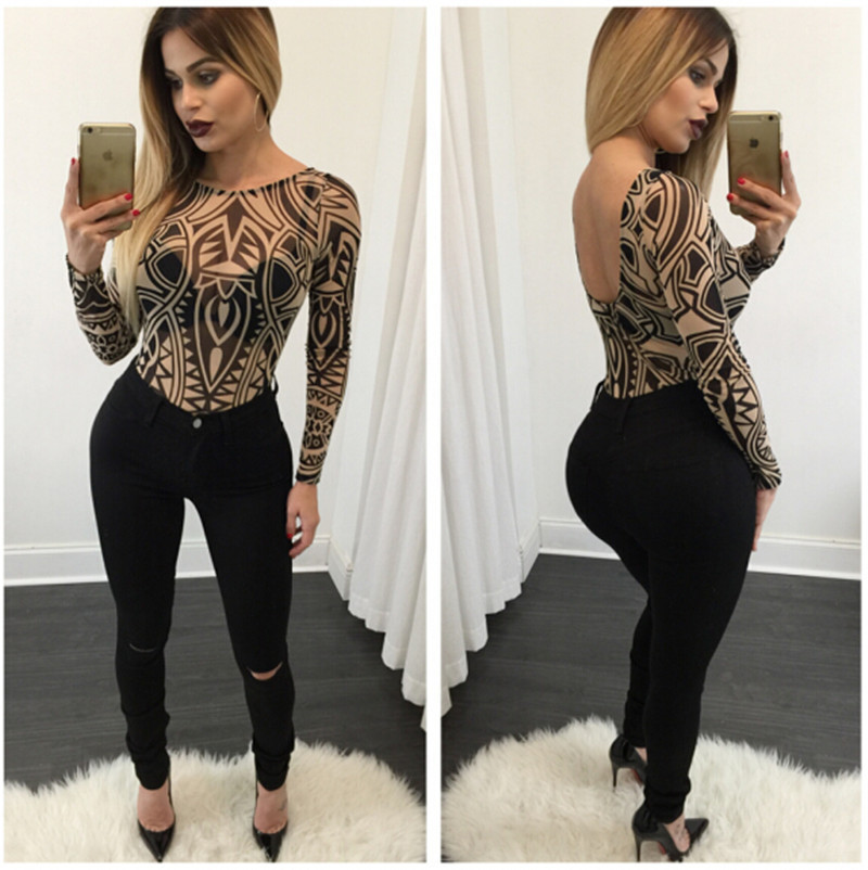 2016 New arrival fashion novel pattern print women bodysuits sexy skinny jumpsuit rompers sexy women bodycon jumpsuits macacao(China (Mainland))