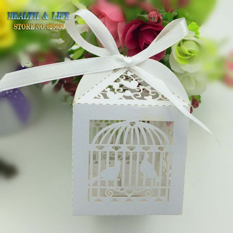 5 Laser Cut White Birdcage Wedding candy Box Pearlescent Paper box,baby shower wedding favors gifts,chocolate box - Health & Life store