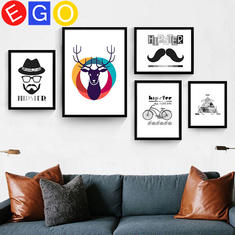 Creative hipster cartoon elk deer Mural decoration oil paintings art canvas painting wall picture living room Porch home decor