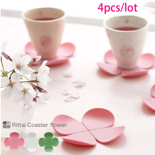 2014 Hot Sale Sweet Novelty Environmentally Friendly Soft Silicon Clover Heat Insulation Cup Pads Mat Wholesale(China (Mainland))