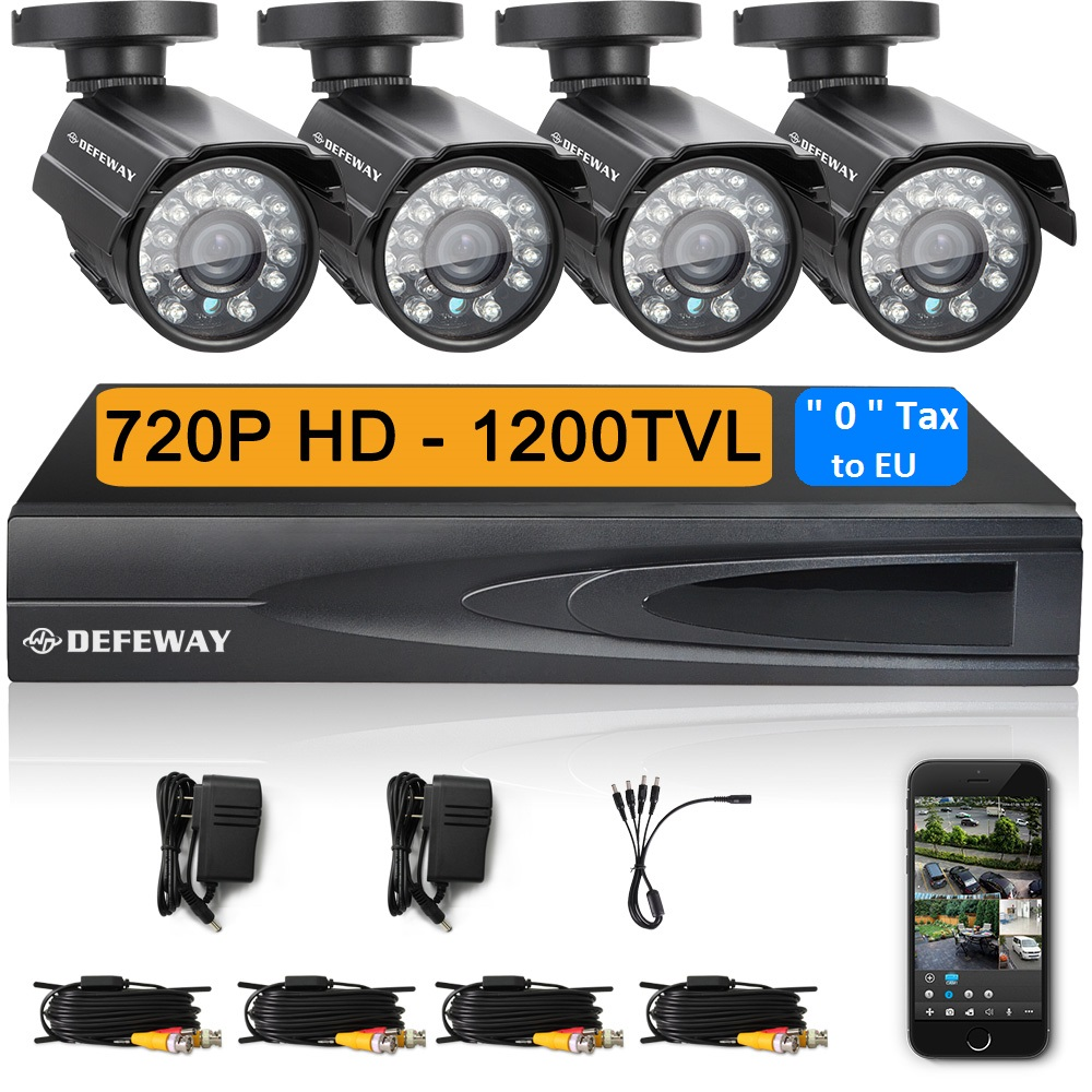 Defeway 4CH CCTV System 720P DVR 4PCS 1200TVL IR Weatherproof Outdoor CCTV Camera Home Security System Video Surveillance Kits(China (Mainland))