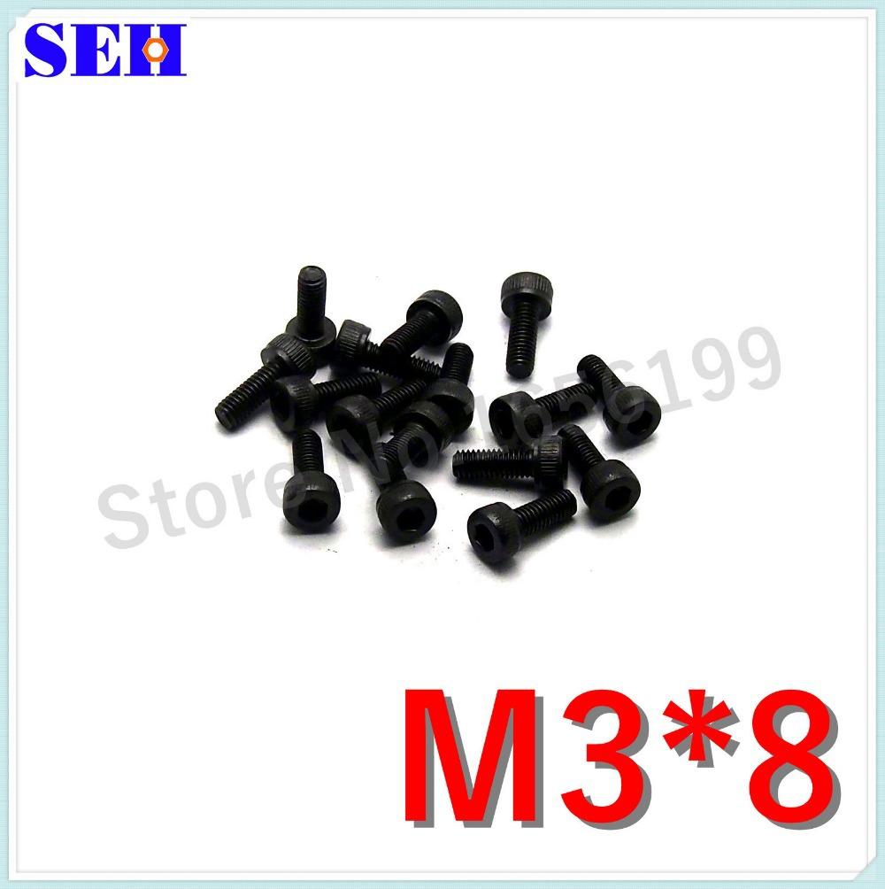 100pcs 100% New Metric Screw M3*8mm Black Grade 8.8 Carbon Steel Hex Socket Head Cap Screw Bolts(China (Mainland))
