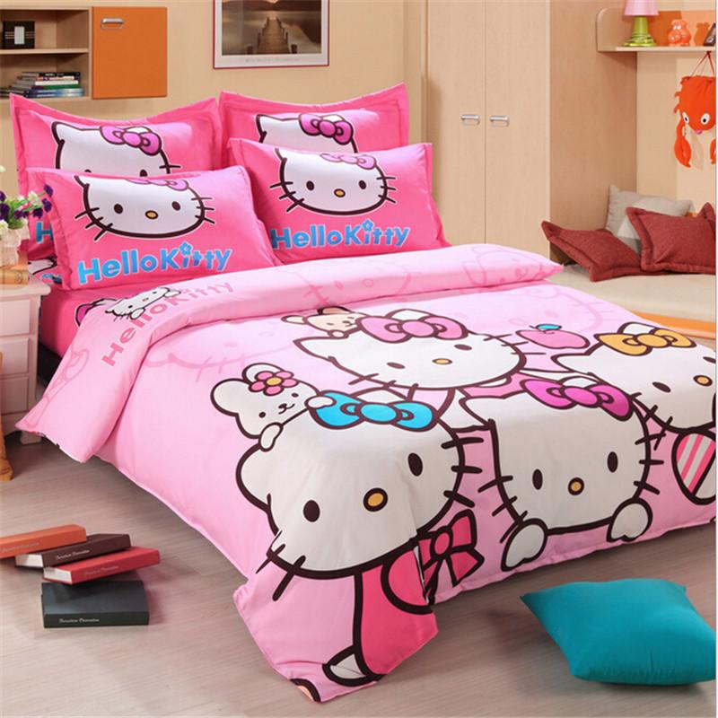 Cartoons Bedroom Sets For Teenagers : 3pcs 4pcs Cute Cat Cartoon Bedding Set Bedclothes Kids Girl Cotton ...