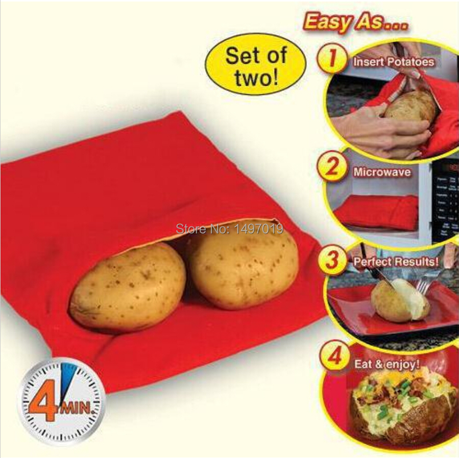 2015 Real Red Bakeware Cake New Microwave Baked Potato Cooking Bag Tools Steam Pocket In Minutes Easy (cooks Potatos At Once)(China (Mainland))