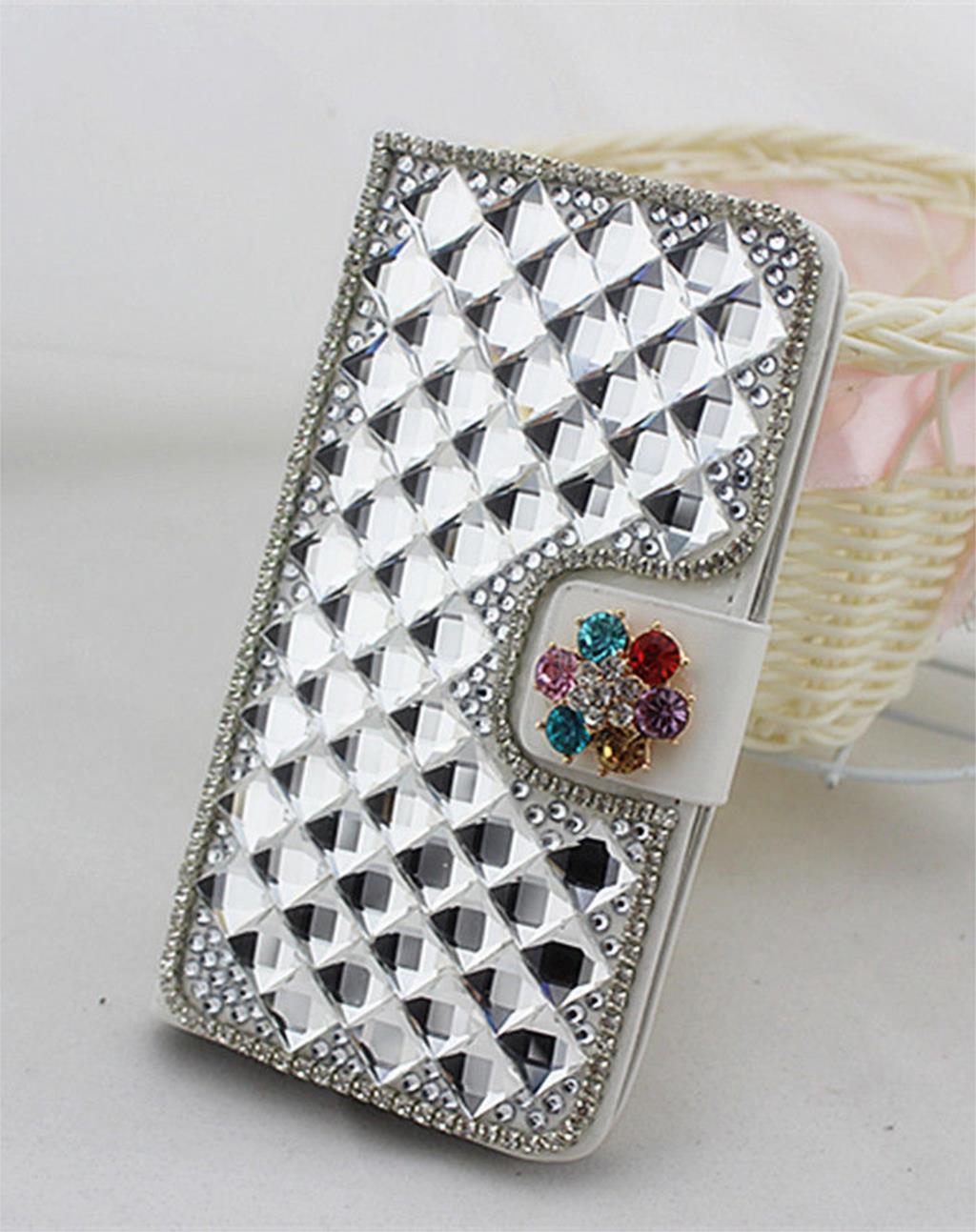 3D Diamond Crystal PU Leather Flip Cover Credit Card Wallet CaseFor Motorola XT319(China (Mainland))