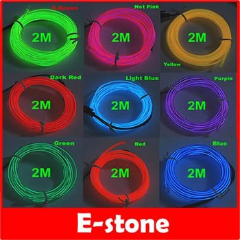 D19Free Shipping 2M Flexible Neon Light Glow EL Wire Rope Strip Car Party 9 Different Colors to Choose