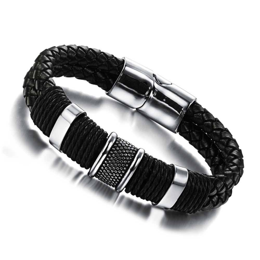 Genuine leather bracelet men stainless steel leather braid Bracelet with magnetic buckle claps pulseiras masculina PH891(China (Mainland))