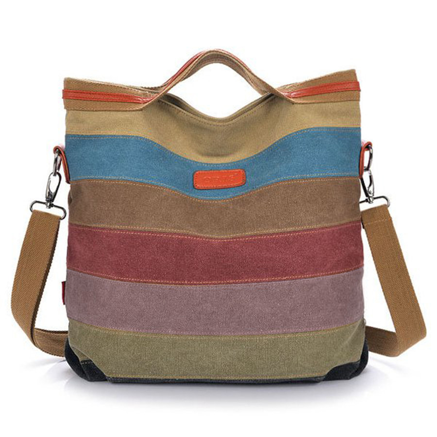Fashion Design Women Canvas Striped Crossbody Bags Vintage Contrast Color Canvas Tote Handbags 2016 New Free Ship(China (Mainland))