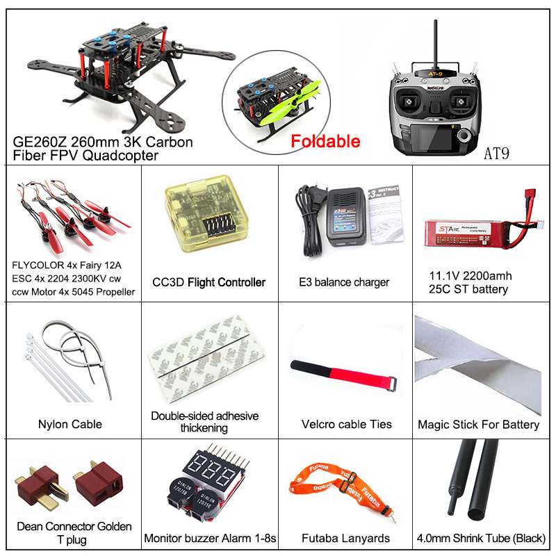 DIY Drone Flycolor Brushless 2204 2300KV Motor Fairy 12A Esc GE260Z RC Quadcopter Frame CC3D Radiolink AT9 Free Shipping<br><br>Aliexpress