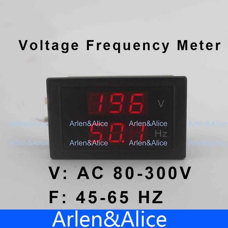 LED dual display Voltage frequency meter voltmeter range AC 80-300V 45.0-65.0 Hz Panel Monitor(China (Mainland))