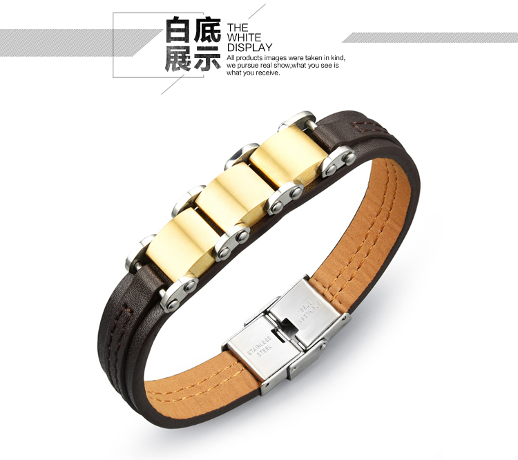 2015 New Fashion Brand Punk Style Titanium steel Buckle Leather Bracelets & Bangles - Dcee jewelry factory Store store