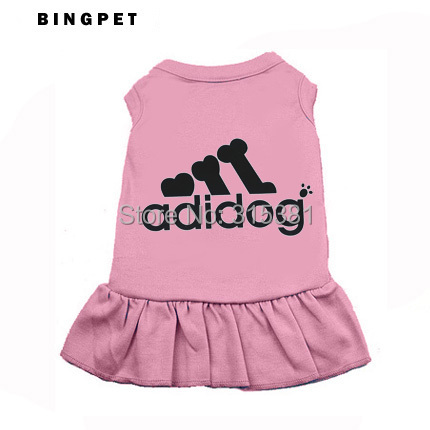 4 colors Cute Dog Dresses Cotton Clothes Shirt Tank Tee Top for Summer Chihuahua Dog Bone Printed XS to XXXXL for large dogs(China (Mainland))