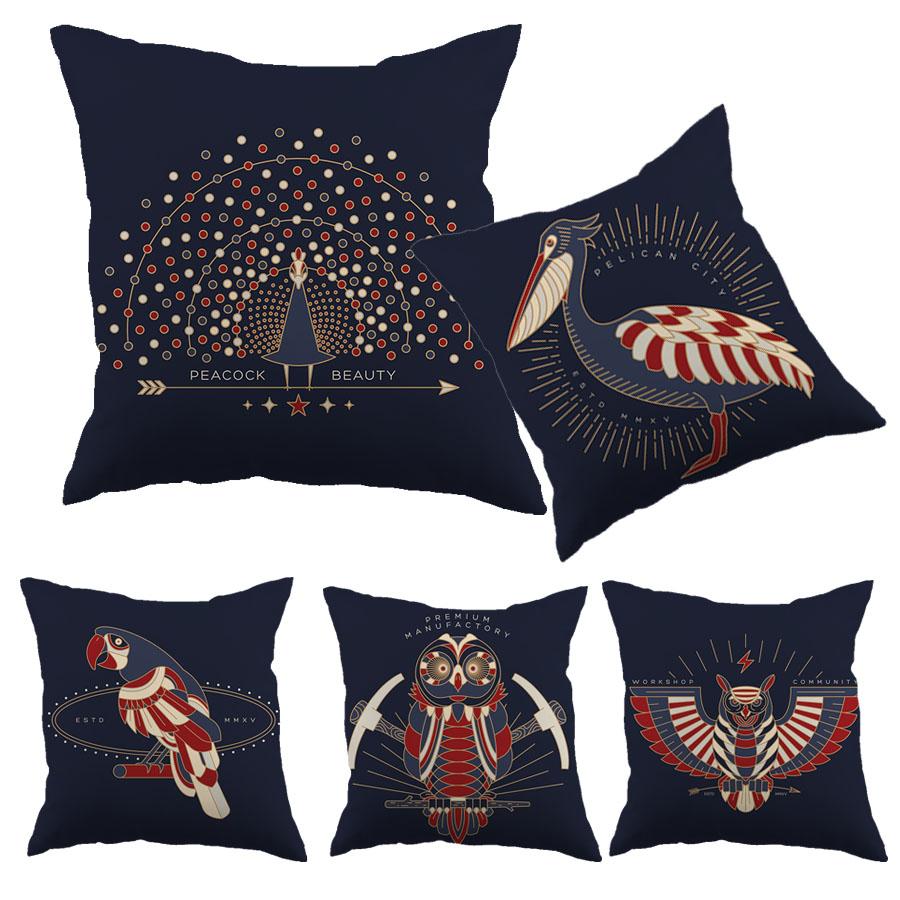 Bird Design Cottom Liene Cushion Cover Deep Blue Pelican Peacook Pattern Printed Decorative Pillowcase Home Car