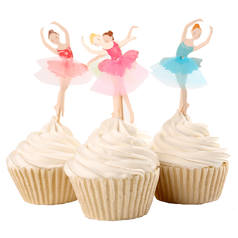 72pcs Ballet Girl Theme Party Supplies Cartoon Cupcake Toppers Pick Kid Birthday Party Decorations(China (Mainland))
