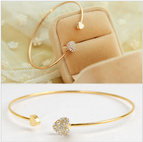 wholesale New heart crystal love opening gold plated bracelet crystal bracelets bangles for women(China (Mainland))