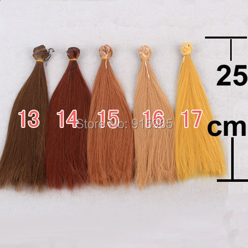 10 pieces/lot 5 colors 25cm*100cm dark brown coffe orange yellow color straight BJD doll wigs hair for blythe doll<br><br>Aliexpress