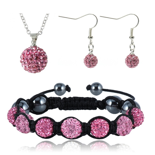 2016 New Arrival Jewelry Shamballa Set 10mm Crystal Disco Balls Pendant/Bracelet/Earring Handmade Jewelry Set JST0006mix2(China (Mainland))