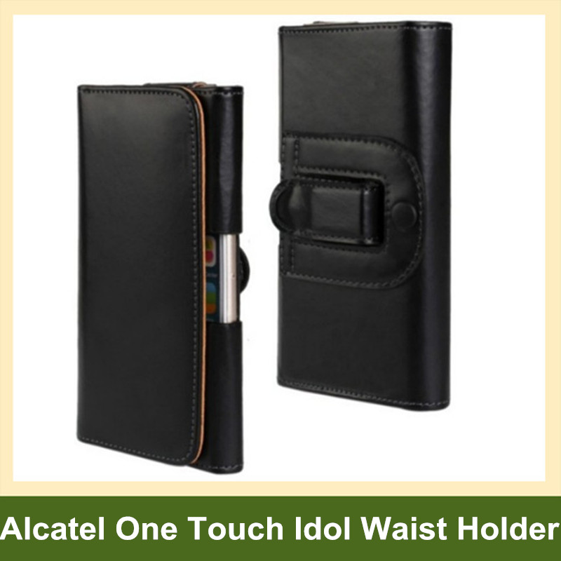 Fashion PU Leather Waist Holder Flip Cover Pouch Case for Alcatel One Touch Idol 2/2 Mini/3/Alpha/Mini/S/X/X+ 10pcs/lot