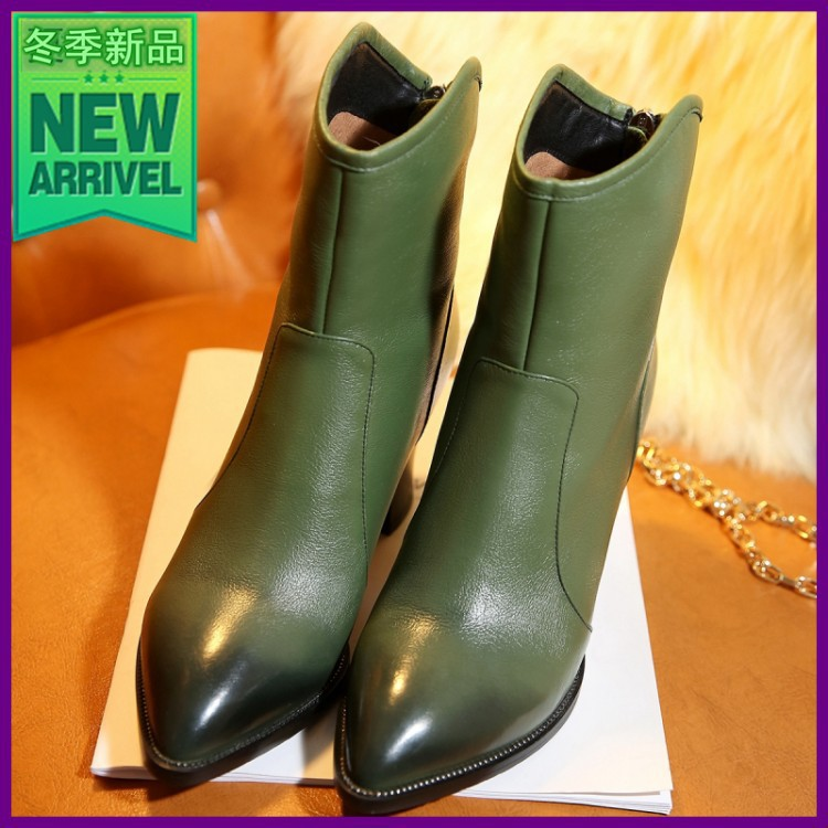 Free shipping ankle boots women fashion short boot winter footwear high heel shoes sexy snow warm Dark green, EUR size 34-42<br><br>Aliexpress