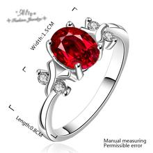 2015 new Hot Sale Fashion brand jewelry ruby CZ diamond silver plated Wedding engagement ring for