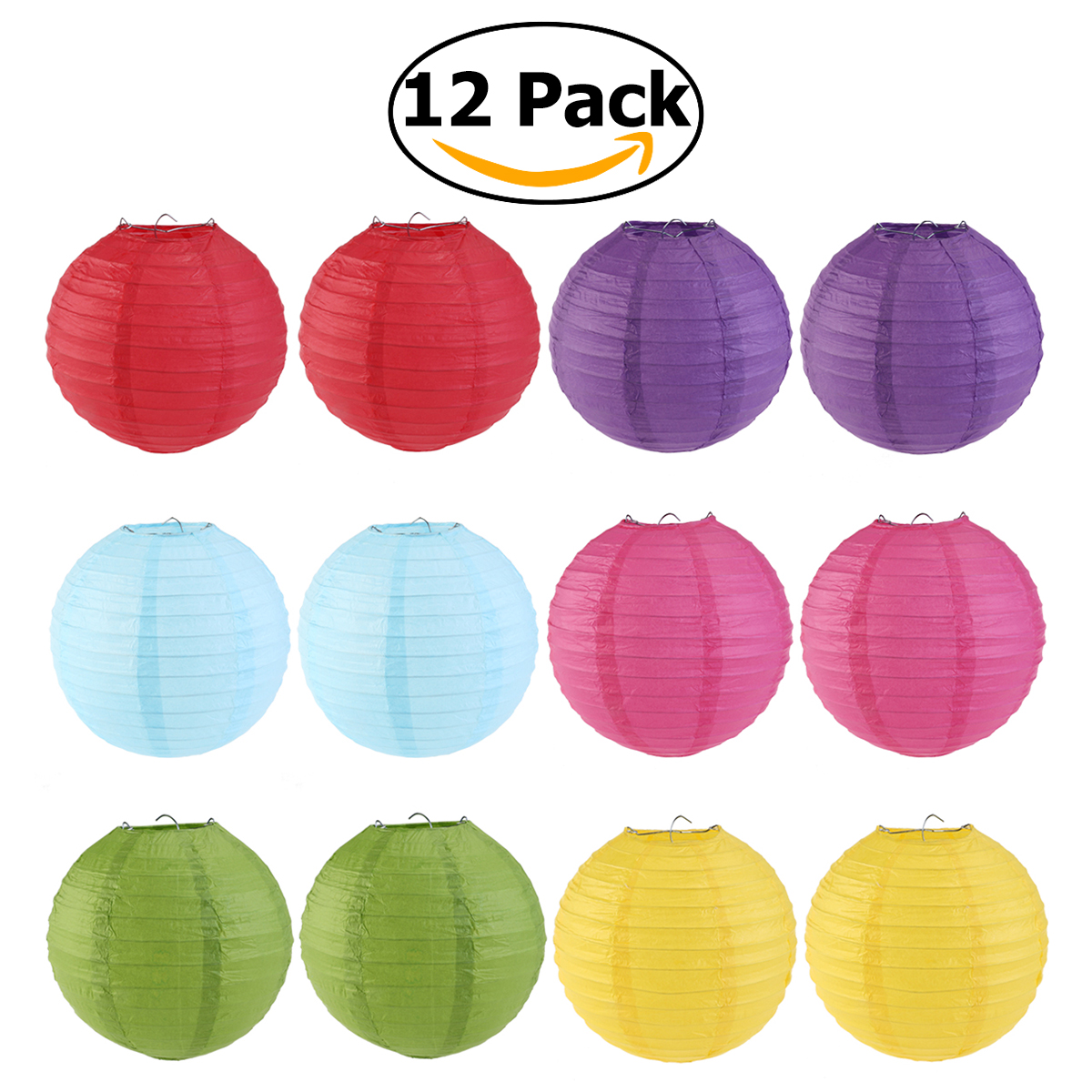 Easter WINOMO 12pcs 6 Colors 25cm Round Paper Lanterns with Wire Ribbing (Red+Light Green+Rose Red+Sky Blue+Dark Purple+Yellow)(China (Mainland))