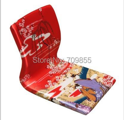 (4pcs/lot) Japanese Zaisu Chair Red Geisha Asian Furniture Living Room Tatami Floor Legless Meditation Backrest Chair Wholesale(China (Mainland))