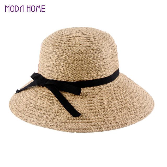 acheter nouveau mode d 39 t de soleil chapeau femmes pliable chapeaux de paille. Black Bedroom Furniture Sets. Home Design Ideas