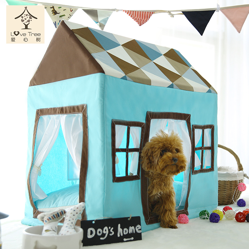 Tent for Pet Kennel Dog Cat Teepee Wood Gauze Nest Pets Playhouse Style Large Size 4(China (Mainland))