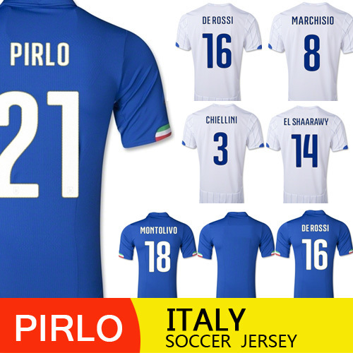 Free Shipping Top Quality Italy World Cup 2014 Home Away Soccer Italy Jersey 2014 BALOTELLI PIRLO ITALIA Football Soccer jersey(China (Mainland))