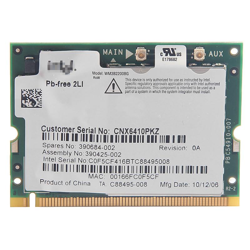 for HP nc6110 nc6120 nc6140 nc6220 nc6230 nc8230 nx6120 intel WM3B2200BG 2200 BG MINI-PCI Wireless Wifi PCI Express Wlan Card(China (Mainland))