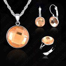 אלגנטי AA קריסטל חתונה עוסק תכשיטי סט 925 כסף סטרלינג שרשרת עגיל טבעת תכשיטי 5 צבעים(China)